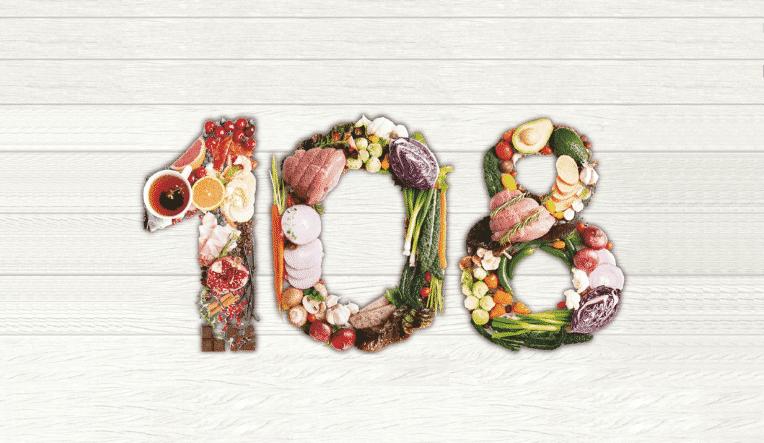 numero 108 formato con il cibo
